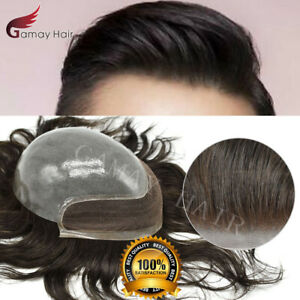 Full Poly PU Wigs Front French Lace Mens Toupee Replacement Human Hair Piece BIO