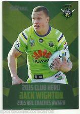 2016 NRL TRADERS CLUB HERO CANBERRA RAIDERS Jack Wighton CH4 CARD