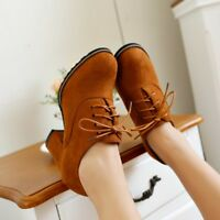 WOmen's High Block Heels Round Toe Lace Up oxfords Suede Leather Pumps Shoes sz