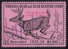 Virginia VA Hunting Bear and Deer Stamp Used 39 1957-58 Resident $1.00