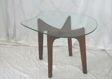 Mid Century Modern Adrian Pearsall Wood Side Table With Freeform Glass Top