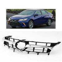 ABS Front Upper Bumper Grill Grille Chrome Black For 2015 2016 2017 Toyota Camry