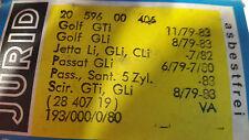 Bremsbeläge Jurid VW Golf, Jetta, Passat, Scirocco 20 596 00 406, 2840719