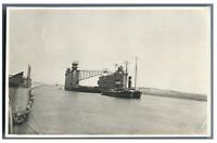 Egypte, Canal de Suez. Bateau devant le gare du km 145  Vintage silver print T