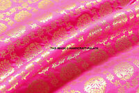 "Indian Banarsi Pink Gold Metallic Ornamental floral brocade fabric 44"" By Yard"