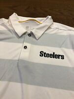 Mens Size Medium Nike Polo Shirt Pittsburgh Steelers NFL White Short Sleeve