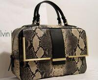 NWT Calvin Klein Black White Faux Snakeskin Embossed Handbag Purse Satchel