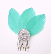 turquoise vert Fascinator à PLUMES Peigne à cheveux argent art déco diamant