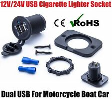 12V/24V USB Twin Dual Power Motorcycle Boat Car Cigarette Lighter Socket Plug UK