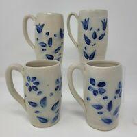 Set 4 Vintage Williamsburg Pottery Mugs Coffee Beer Cobalt Blue Leaves Flower