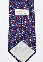 ORVIETO CRAVAT LTD. Red White & Blue Circle/Dot Print 100% Silk Mens Neck Tie