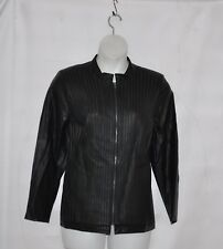 Belle by Kim Gravel Faux Leather & Stretch Ponte Jacket Size 1X Black