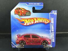 RED 2008 LANCER EVOLUTION EVO FASTER THAN EVER SHORT CARD HOT WHEELS 1/64