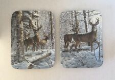 BRADFORD EXCHANGE PAIR OF BUCK  PLATES WHITETAILS PAUSE & ALERT TO THE SOUNDS