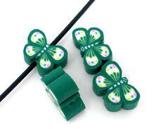 20 X Arcilla Verde Mariposa espaciador granos - 9.5 X 6.5 mm-el mismo día Poste LIBRE