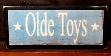 Old Olde Toys Primitive Farmhouse Rustic Wooden Sign Block Shelf Sitter 2.5X5.5