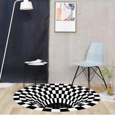 UK 3D printed Round Vortex Illusion Pattern Rug Anti-slip Carpet Floor Mat Door