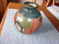 Vase Fish Clay Redware Nicaragua Pottery Vintage Folk Art Textured Artist Signed
