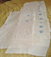 17 Used Vintage 1970-1984 Blue Stamp DUNDEE Cloth Baby Diapers w/Fold Lines