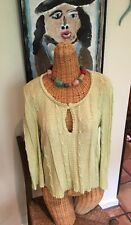 Ball of Cotton lime green top sweater 3/4 sleeves short waisted rayon EUC Small
