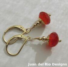 orange-rote Karneol Brisur Ohrringe Ohrhänger 585 Gold 14k GF/ygf Rosette