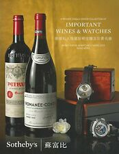 SOTHEBY'S HK WINE WATCHES COLL IWC Lecoultre Panerai Piguet Rolex Catalog 2015