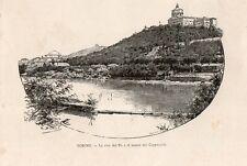 Stampa antica TORINO Veduta del Po e Monte dei Cappuccini 1892 Old print