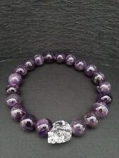 Genuine Amethyst Gemstone Austrian Clear Crystal Skull Bracelet Baby Chrome King