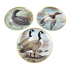 "Franklin Porcelain Set of 3 ""Water Birds of the World"" Collector Plates 9"""