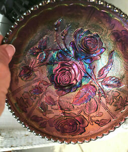 """VTG Early Purple Imperial Open Rose Carnival Glass Bowl Electric HTF 6.75"""""""