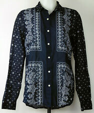 Old Navy Blue Bandanna Print Button-Front Long Sleeve Semi Sheer Cotton Shirt M