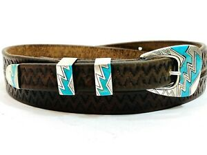 Retro Sterling Silver .925 Inlay Turquoise Ranger Belt Buckle Set Santa Fe 1989