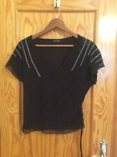 DOROTHY PERKINS. BLACK SILVER.  V NECK.  SHORT SLEEVE TOP. SIZE 14. STITCH BEAD