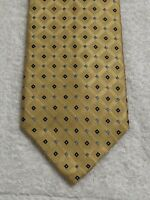 """U.S. POLO ASSN MENS TIE YELLOW W/ BLUE DIAMONDS AND NAVY BLUE SQUARES """"60X4"""""""