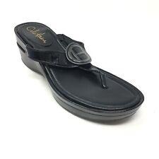 Women's Cole Haan D30489 Air Flip Flops Sandals Shoes Size 7B Balck Wedge D12