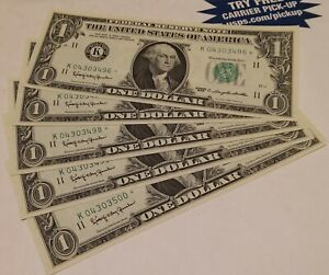 5-1963 One Dollar *Star* Notes Uncirculated Sequential Star Notes ($1) UNC