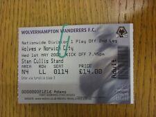 01/05/2002 BIGLIETTO: play-off semi-finale Divisione 1, Wolverhampton Wanderers V né