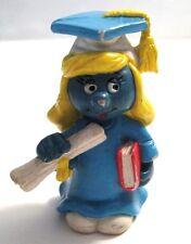 "Schleich 1981 Peyo VTG PVC Graduate Smurfette Smurf Figure Toy 2"" Tall"