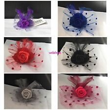 Flower Hair Clip Feathers Small Mini Top Hat Fascinator SIZE 5CM