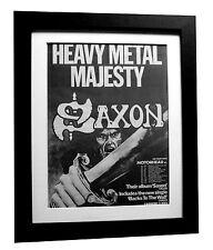 SAXON+Stallions+Backs Wall+TOUR+POSTER+AD+RARE+ORIG 1979+FRAMED+FAST GLOBAL SHIP