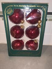 "6 Visions By Holly Decorations Red Glass Christmas Ornament Balls 2-5/8"" USA Kc"