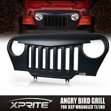 Front Matte Black Mean Angry Bird Grille Grill for Jeep Wrangler TJ '97-06