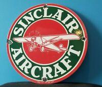 VINTAGE SINCLAIR AIRCRAFT PORCELAIN GASOLINE SERVICE STATION AIRPLANE SIGN