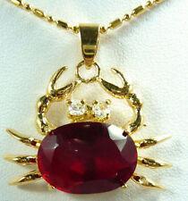 Red Cubic Zirconia 18KGP Crystal Crab Men Women Child Pendant Chain Necklace