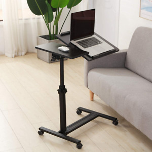Tigerdad Over Bed Table With Wheels Adjustable Rolling Laptop Table Overbed Desk