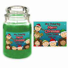 Personalised Christmas Candle Label Gift - Xmas School Teacher