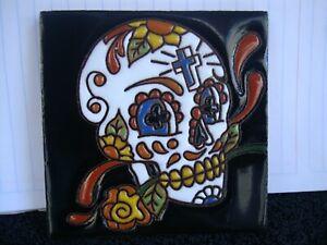 Day of Dead  Sugar Skull Mexican Tile, Talavera, Dia Los Muertos,