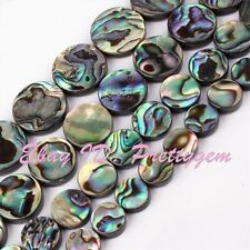 """Natural Coin Abalone Shell Beads Multicolor Gemstome Strand 15"""" 8,10,12,14mm"""