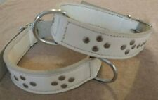 "Large  Double LEATHER DOG COLLAR  25 x 1. 5"" white Steel flat multi studs"