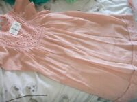 BNWT Girls' Next Stunning Peachy Colour Broderie Anglais Trimmed Dress Age 11yrs